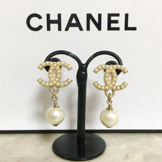CHANEL - 正規品 シャネル ピアス パール ココマーク ゴールド スイング 金 ロゴ 真珠