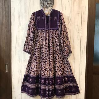 Santa Monica - 70s ヴィンテージ  インド綿ワンピース 紫系