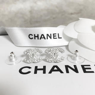 CHANEL - 正規品 シャネル ピアス シルバー ココマーク ラインストーン 銀 ロゴ 石