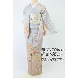 《長尺極上■吉祥文松竹梅金彩の桜訪問着■グレー綸子地◆袷正絹着物◆HH3-59》