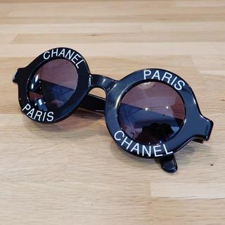 CHANEL - 美品 激レア シャネル サングラス ヴィンテージ ブラック ロゴ 黒 ラウンド