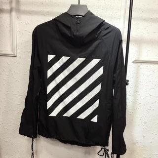 OFF-WHITE - Off-White オフブラック薄いジャケット日焼け防止衣ホワイト男女兼用