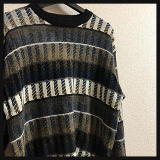 アートヴィンテージ(ART VINTAGE)の美品 古着 派手柄 個性的デザイン ストライプ ニット セーター マルチカラー(ニット/セーター)