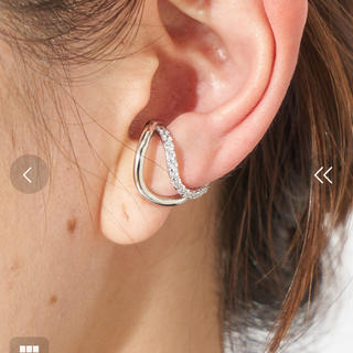 ear PAPILLONNER - ear PAPILLONNER 2連クリスタルイヤーカフ シルバー ジルコニア