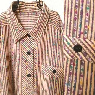 Santa Monica - アート古着 ストライプ柄にマーブルドット柄がかわいいシャツ