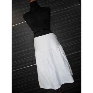 カルバンクライン(Calvin Klein)の新品カルバンクラインCKティアードフレアスカート8ホワイト$447(ひざ丈スカート)