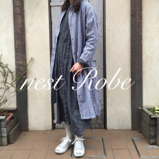 nest Robe - * nest Robe * 2016  リネン ストライプコート 羽織り