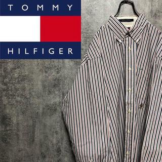 トミーヒルフィガー(TOMMY HILFIGER)の【レア】トミーヒルフィガー☆オールド刺繍ロゴトリコロールストライプシャツ 90s(シャツ)