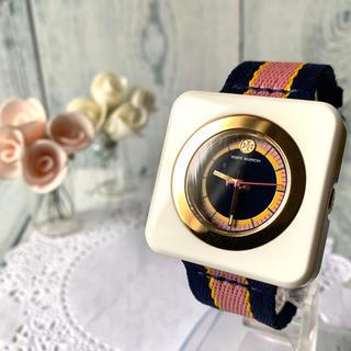 トリーバーチ(Tory Burch)の【美品】TORY BURCH トリーバーチ 腕時計 スクエア ホワイト(腕時計)