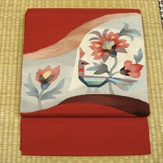 赤色の紬地に花鳥 洒落袋帯(帯)