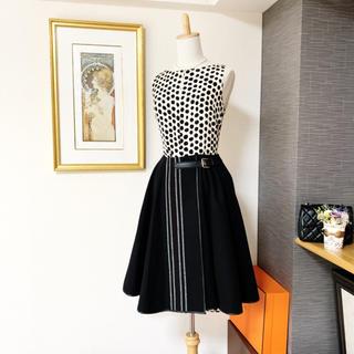 LOEWE - 極美品 ロエベ 上質なウール ナパレザー フレアライン スカート ベルト
