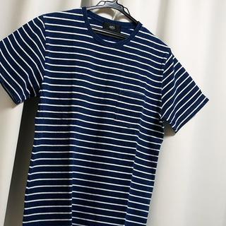 AZUL by moussy - AZUL Tシャツ S ネイビー ボーダー メンズ ホワイト ポケット 半袖