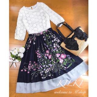 コーデセット ✽ レーストップス+花柄スカート ✽