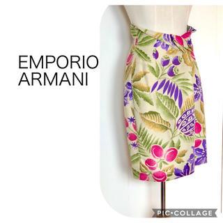エンポリオアルマーニ(Emporio Armani)のEMPORIO ARMANIボタニカル柄スカート(ひざ丈スカート)