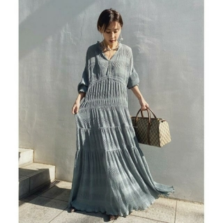 Ameri VINTAGE - 新品タグ付 SHIRRING PLEATS DRESS ミント M アメリ