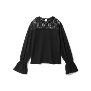 GRL - GRL レース切替キャンディスリーブリブトップス 黒 新作 韓国ファッション