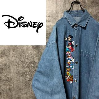 Disney - 【激レア】ディズニー☆USA製ミッキーキャラクター刺繍メタルボタンデニムシャツ