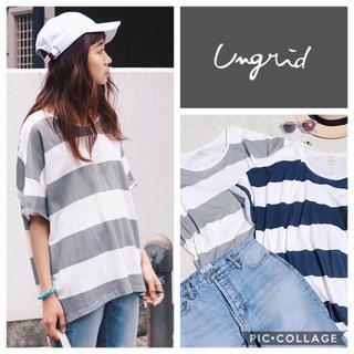 Ungrid - Ungrid**カラーボーダーハーフスリーブtee