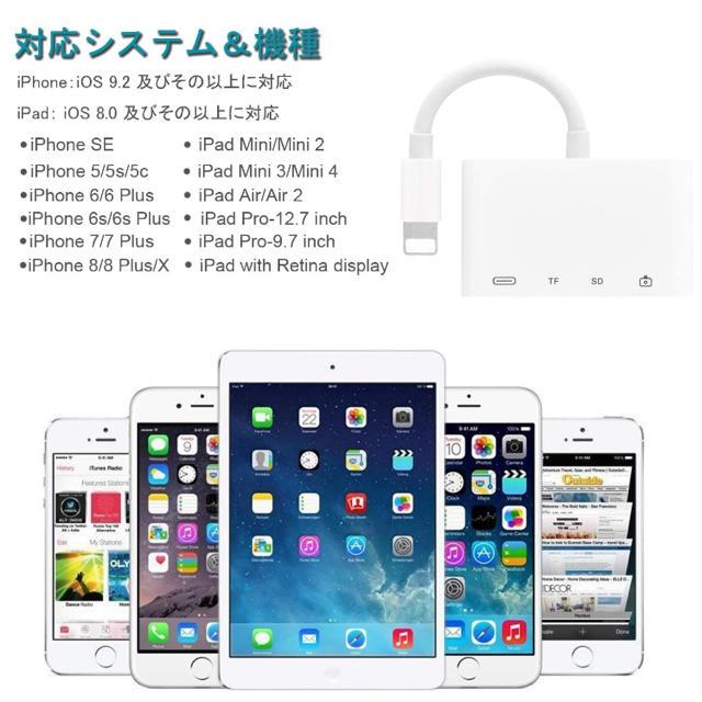 iPhone iPad専用 SD/TF usb カメラアダプタ 変換 スマホ/家電/カメラのPC/タブレット(PC周辺機器)の商品写真