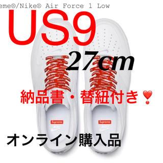 Supreme - US9 supreme nike エアフォース1  LOW AF1 白 ホワイト