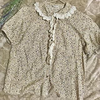 サンタモニカ(Santa Monica)の古着 花柄 レースブラウス(シャツ/ブラウス(半袖/袖なし))