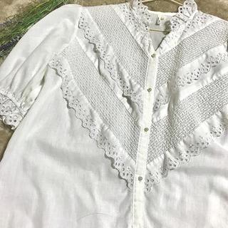 ロキエ(Lochie)の古着 コットンレースブラウス 半袖(シャツ/ブラウス(半袖/袖なし))