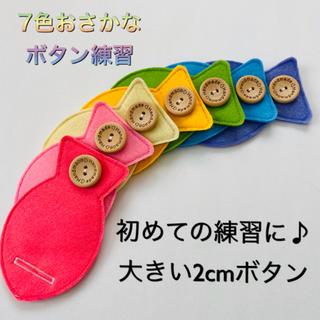 7色おさかなのボタン練習☆大きい2cmボタン