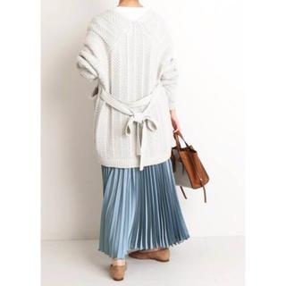 IENA SLOBE - SLOBE IENAサテンプリーツロングスカート2020ss (サックスブルー)