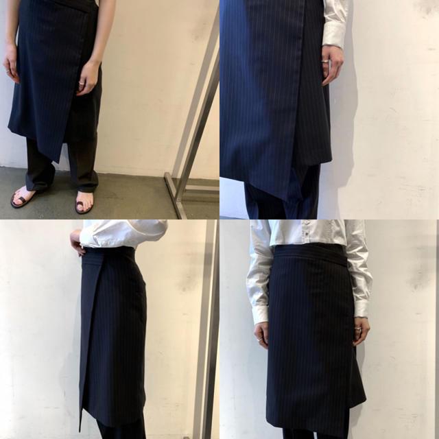 今季新品 フミカウチダ FUMIKA UCHIDA ピンストライプラップスカート レディースのスカート(ひざ丈スカート)の商品写真