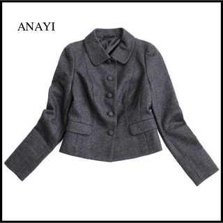 アナイ(ANAYI)の美品 アナイ★ステンカラーウールジャケット 36(S) グレー セレモニーにも♪(テーラードジャケット)