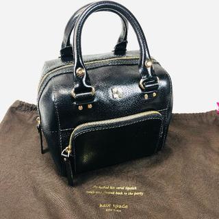 ケイトスペードニューヨーク(kate spade new york)の【美品】ケイトスペード ハンドバッグ レザー 黒 保存袋付(ハンドバッグ)