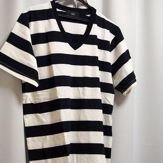 AZUL by moussy - AZUL Tシャツ L メンズ ボーダー ホワイト ブラック 新品 未使用 半袖