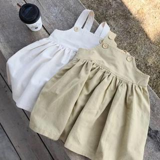 petit main - 90 イエローベージュ ジャンパースカート スカート ワンピース ベージュ