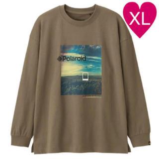 ジーユー(GU)の◆ GU polaroid Tシャツ ビッグT 長袖 ベージュ XL(Tシャツ/カットソー(七分/長袖))