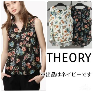 theory - 《中古》Theory  ネイビーウォッシャブル フラワープリントブラウス 花柄