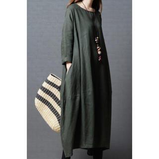 【大人気】Mサイズ マキシバルーンワンピース  グリーン 緑 マキシワンピース(ロングワンピース/マキシワンピース)