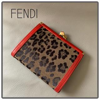 FENDI - ヴィンテージフェンディ ♪コインケース♪赤✖︎レオパード柄