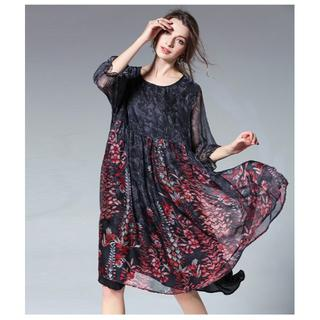 6L黒パーティードレスぽっちゃりゆったり大きいサイズ花柄シフォンワンピース885(ミディアムドレス)