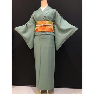 853    作家様・色無地・帯プレゼント・グリーン系・お茶・式典・袷・正絹(着物)