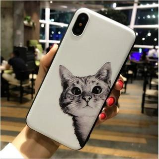 【iPhone7/8/ホワイト】猫のシリコンケース♪