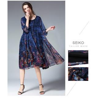 青6Lパーティードレスぽっちゃりゆったり大きいサイズ花柄シフォンワンピース885(ミディアムドレス)