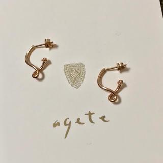 agete - アガット K10 ひねり フープピアス agete