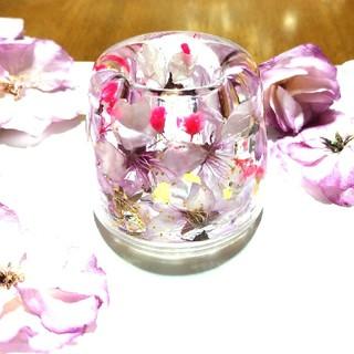 ★SALE★No.66【Lサイズ】夜桜風★固まるハーバリウムペン立て•印鑑立て(ドライフラワー)