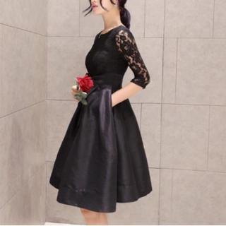 【ラスト一点】ブラック レース ドレス  ワンピース(ミディアムドレス)