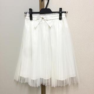 定価8900円+税 パールキラキラリボン付きプリーツチュールスカート 白XS