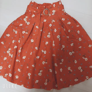 dazzlin - dazzlin 花柄ミディスカート ダズリン フレアスカート オレンジ
