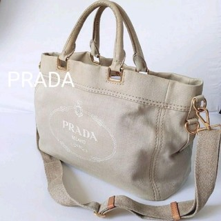 プラダ(PRADA)のPRADA カナパ トートバッグ ショルダー マザー ベージュ キャンバス(トートバッグ)