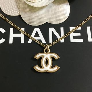 CHANEL - 正規品 シャネル ネックレス ゴールド ココマーク 金 ホワイト チェーン 白