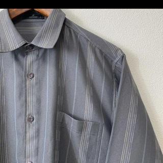古着 FEUSTON ストライプ柄 デザイン ポリシャツ グレー M(シャツ)