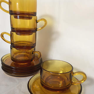 SOGA ガラス アンバー コーヒーカップ&ソーサ 5客セット スプーン(グラス/カップ)